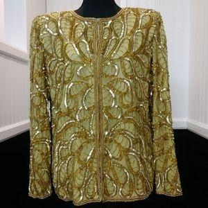 Vintage 80s Gold Sequinned Silk Jacket